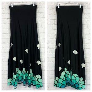 Lularoe Mermaid Scale Ombré Black Maxi Skirt XS